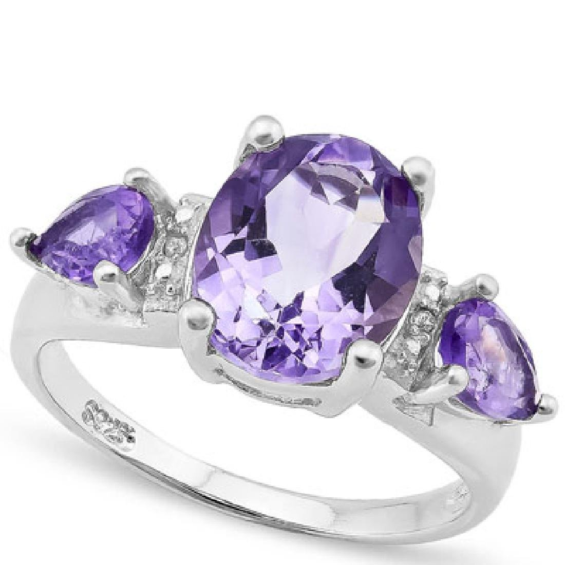 925 STERLING SILVER RING WITH AMETHYST & AMETHYST