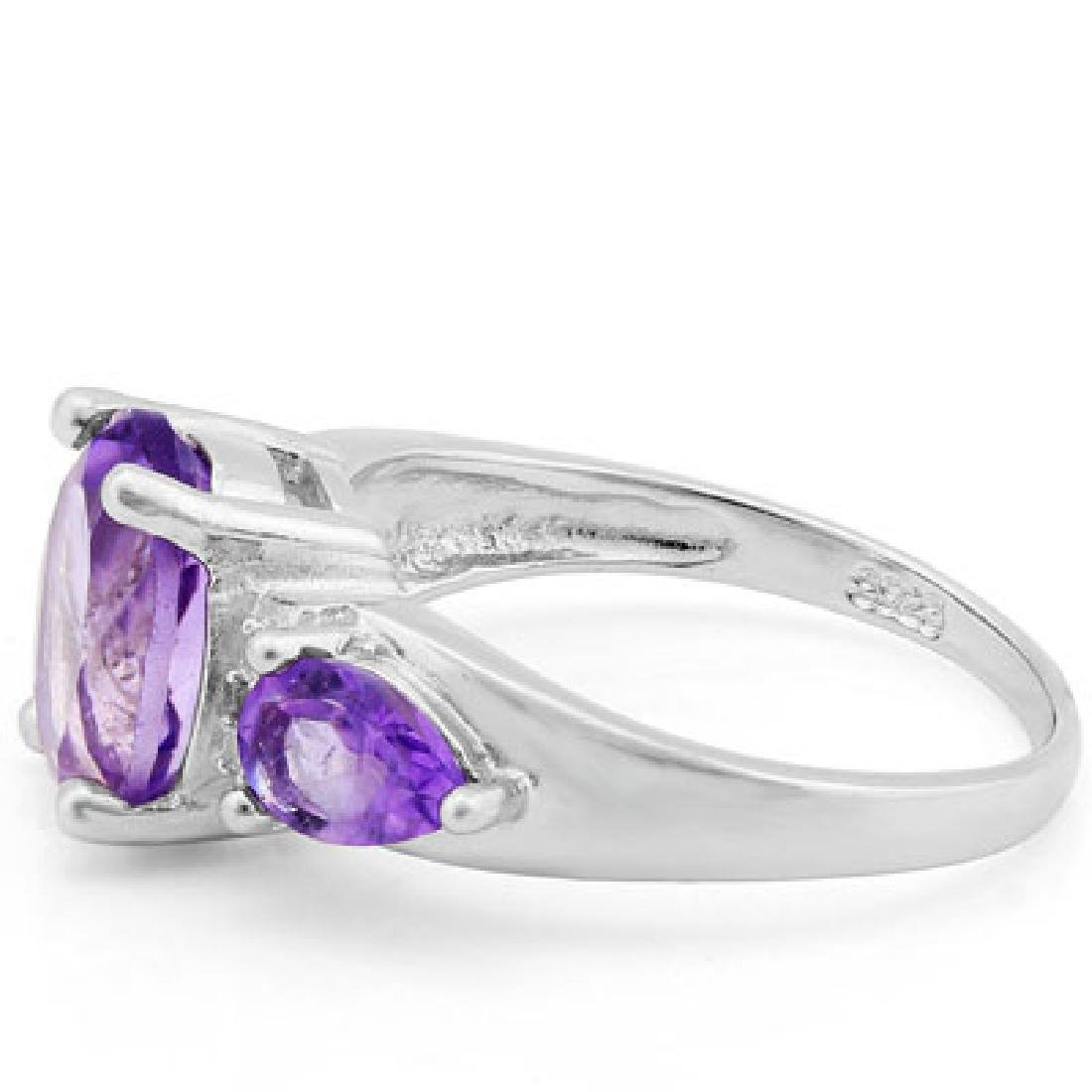 925 STERLING SILVER RING WITH AMETHYST & AMETHYST - 2