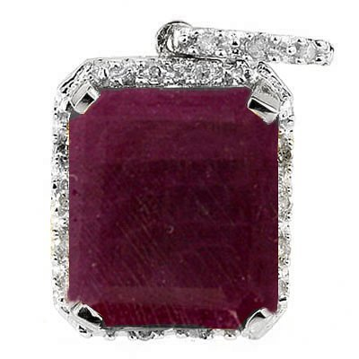 6CT  RUBY WITH DIAMOND IN 0.925 SILVER PENDANT