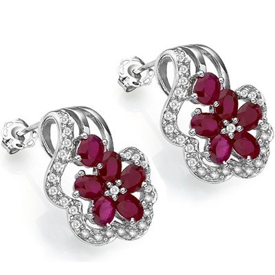 2.8 CT RUBY EARRINGS WITH DIAMOND IN 0.925 SILVER