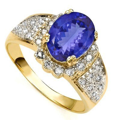 EXQUISITE TANZANITE AND DIAMOND IN 14K GOLD RING