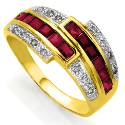 GENUINE RUBY AND DIAMOND IN 0.925 SILVER RING