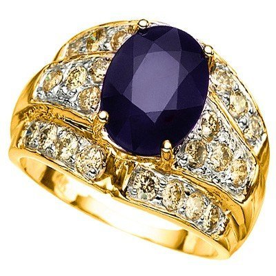 OVAL SAPPHIRE & 0.96CT-DIAMOND IN 14K GOLD RING