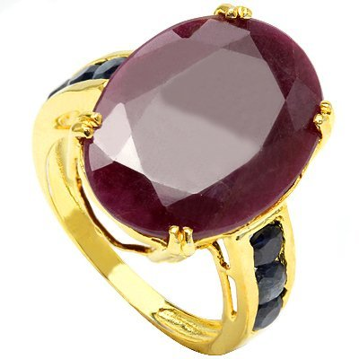 10 CT RUBY & BLACK SAPPHIRE 0.925 SILVER RING
