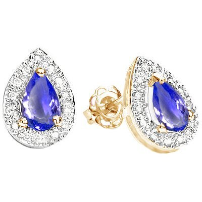 GENUINE TANZANITE & DIAMOND IN 10K GOLD EARRINGS
