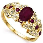 RUBY AND DIAMOND RING IN SOLID 10K YELLOW GOLD