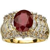DIAMOND  3CT RUBY RING IN 6 GRAM OF 14K GOLD