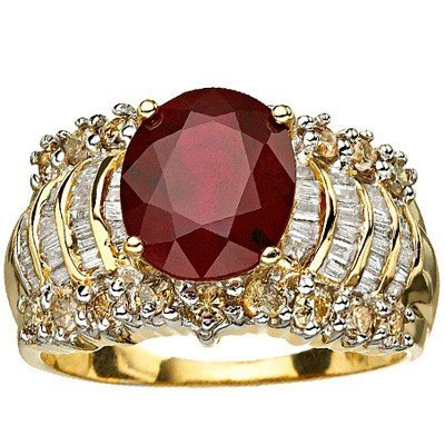 DIAMOND & 3CT RUBY RING IN 6 GRAM OF 14K GOLD