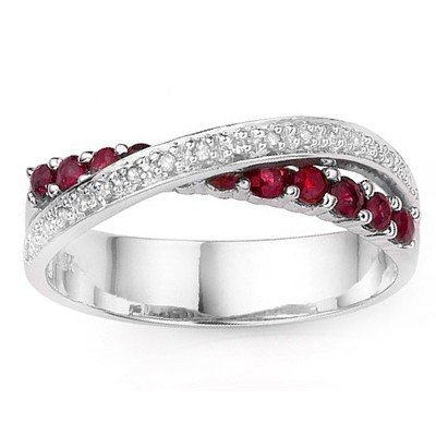 AFRICAN RUBY AND 18 PCS DIAMOND IN 0.925 SILVER RING