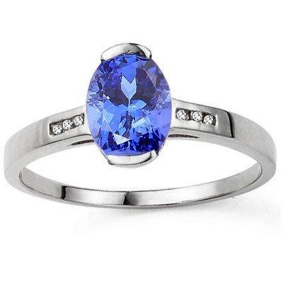 LOVELY TANZANITE & DIAMOND IN 10K WHITE GOLD RING