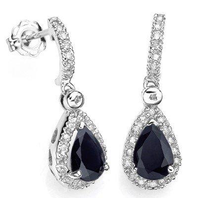 PEAR SAPPHIRE & 48PCS DIAMOND IN SILVER EARRINGS