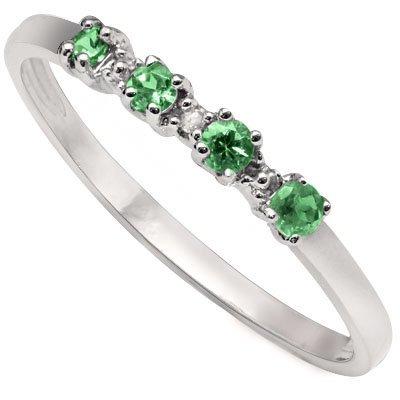 Round Emerald & Diamond 0.925 Silver Ring