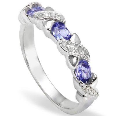 Natural Tanzanite & Diamond 0.925 Silver Ring