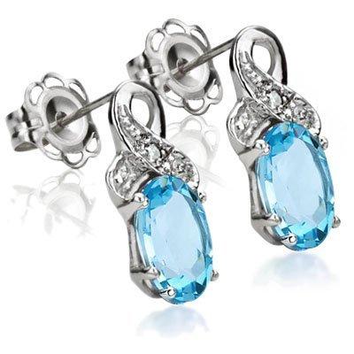 Blue Topaz & Diamond 0.925 Silver Earrings