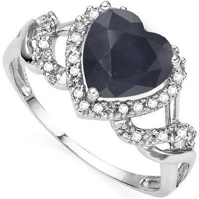 Beautiful 0.925 Silver & Sapphire, Diamond Ring