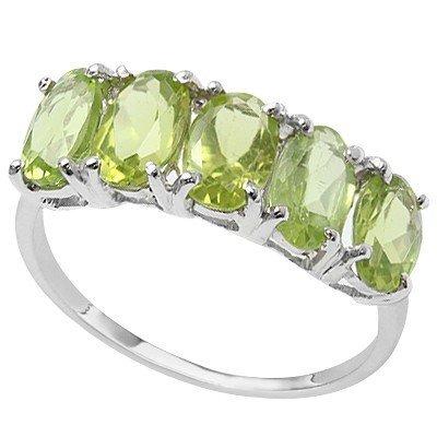 Gorgeous 0.925 Silver & Lime Green Peridot Ring