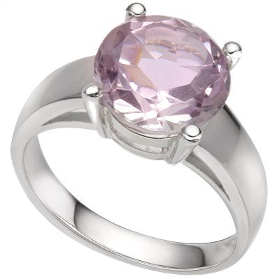 Round 10mm Pink Amethyst 0.925 Silver Ring