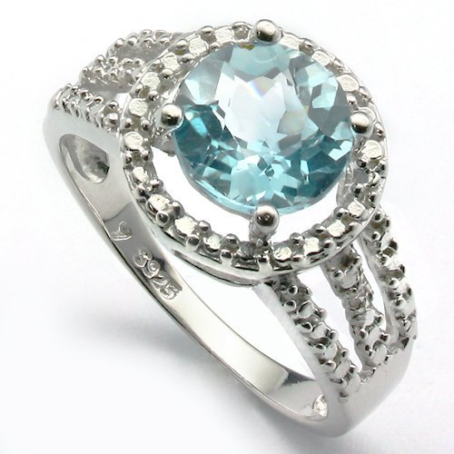 10mm Round Blue Topaz in 0.925 Silver Ring
