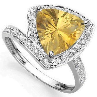 Trillion 10mm Golden Citrine, Diamond Silver Ring