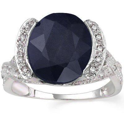 6CT Sapphire & Diamond in 0.925 Silver Ring