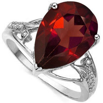 5.9CT Garnet & Diamond in 0.925 Silver Ring