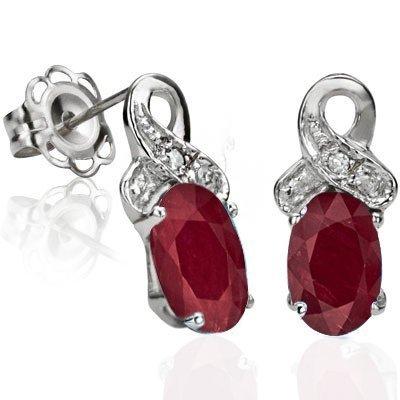 Indian Ruby & Diamond 0.925 Silver Earrings