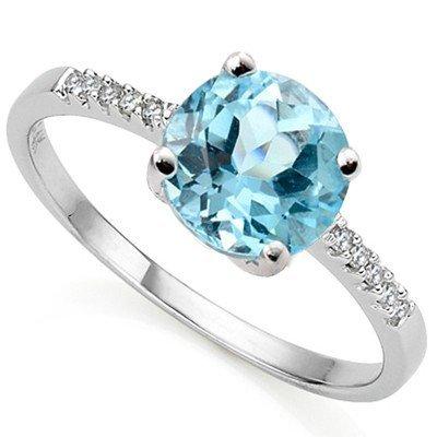 8mm Round Blue Topaz & Diamond in Silver Ring