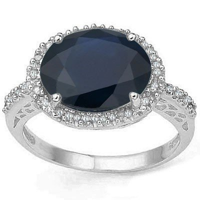 10x12mm Sapphire & Diamond in 0.925 Silver Ring