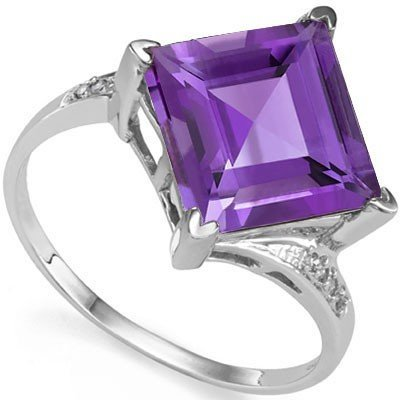 10mm Square Amethyst & Diamond in Silver Ring