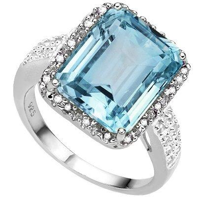Octagon Blue Topaz & Diamond 0.925 Silver Ring