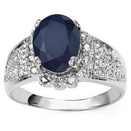 10K Gold Ring With Oval Sapphire & Diamond