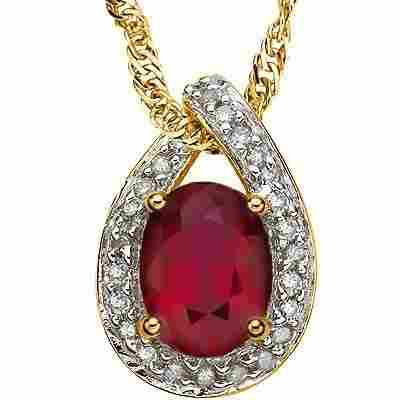 AFRICAN RUBY AND DIAMOND IN 10K GOLD PENDANT