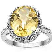 Remarkable Oval Citrine  Diamond 0925 Silver Ring
