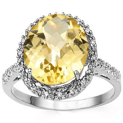 Remarkable Oval Citrine & Diamond 0.925 Silver Ring