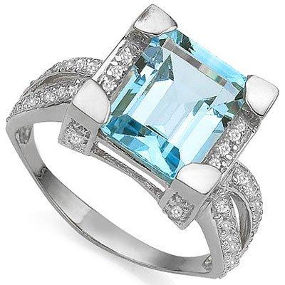 Octagon 8x10mm Blue Topaz & Diamond 0.925 Silver Ring