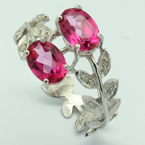 Fine Pink Topaz & Diamond Leaves Band Silver Ring