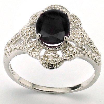 Wonderful Sapphire & Diamond 0.925 Silver Ring