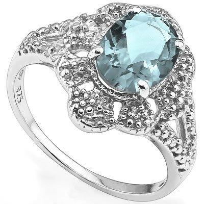 7x9mm Oval Topaz & Diamond 0.925 Silver Ring