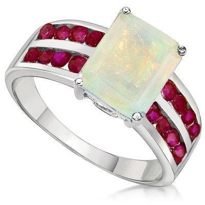 8x10mm Lab Opal & 2mm Round Ruby Silver Ring