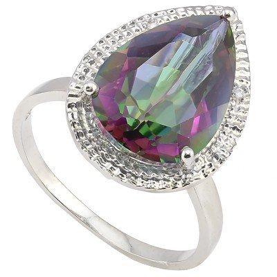 10x15mm Pear Fancy Quartz & Diamond Silver Ring