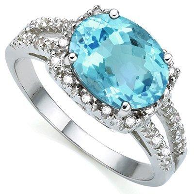 7x9mm/2.2Ct Oval Blue Topaz & Diamond Silver Ring