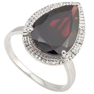 10x15mm Persian Red Garnet & Diamond Silver Ring