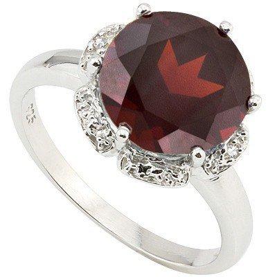 Gorgeous 10mm Round Garnet & Diamond Silver Ring