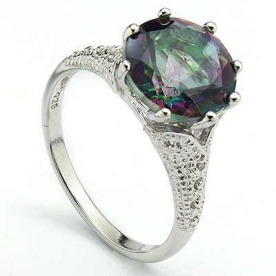 10mm/3.4CT  Fancy Quartz & Diamond Silver Ring