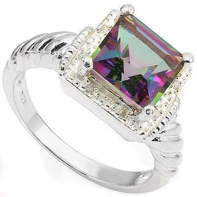 Fancy 8mm/2CT Mystical Quartz & Diamond Silver Ring