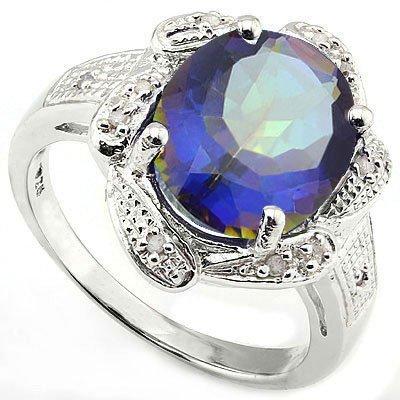 Fancy 10x12mm/4CT Mystical Quartz & Diamond Silver Ring