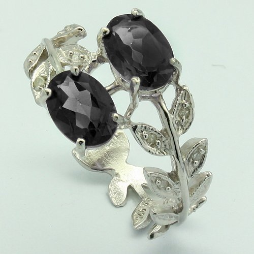 Superd Sapphire & Diamond Leaves Bank Silver Ring