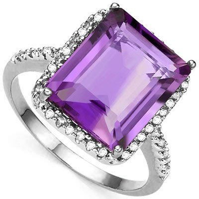Big 8CT Amethyst & Diamond 0.925 Silver Ring