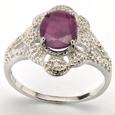 Nice 7x9mm Oval Ruby & Diamond 0.925 Silver Ring