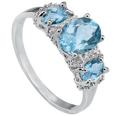 Awesome 2.2Ct Topaz and Diamond in Silver Ring